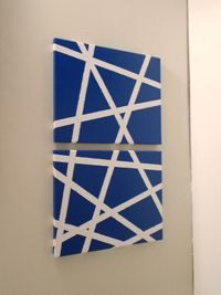 dual masking tape wall art on canvas - navy and white