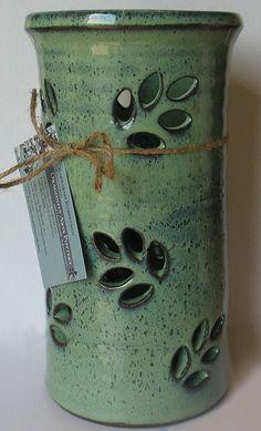 "Pottery - 10"" utensil pot #pottery #green #Stoneware #kitchen #BarbarahRobertsonPottery"