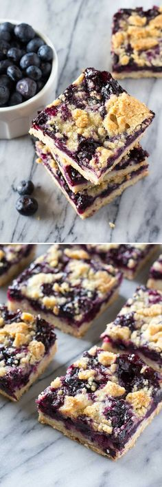 A buttery shortbread-like base, juicy blueberry filling & crumbly crumble topping - these Blueberry Crumble Bars are so easy & delicious!