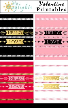 Hello Love free Valentine Printables for valentines day project life