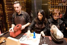 The fashion brand's master craftsmen customise handbags and other accessories in-store.