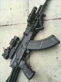 modified Ak 47 x 39 with tactical light Airsoft Guns, Weapons Guns, Guns And Ammo, Tactical Ak, Tactical Light, Assault Weapon, Assault Rifle, Big Guns, Cool Guns