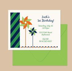 Pinwheel Birthday Party Invitations and Envelopes, set of 16