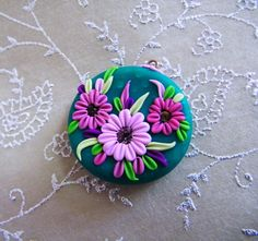 Victoria's Garden. Polymer Clay Pendant.
