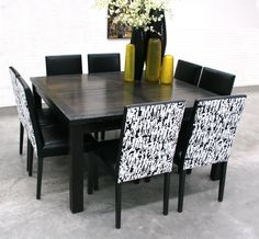 Square and round dining tables are great for conversation. Round Dining Table, Dining Bench, Dining Room, Black And White, Conversation, Furniture, Home Decor, Decoration Home, Table Bench