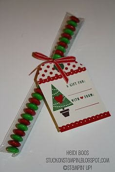 Stuck on Stampin': 12 days of Christmas {projects} - day 1. cute tutorial for making this tag.