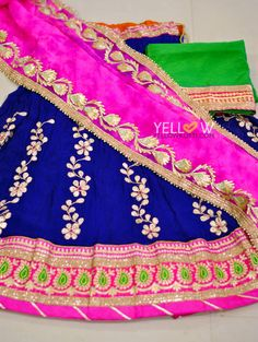 Georgette heavily worked lehanga with shibori Silk kota dupatta with gota work border teamed with green rawsilk blouse material suitable for all occasions ! For Price enquiries   Kindly write to us at teamyellow@yellowkurti.com or private message us here on Facebook !  05 January 2017