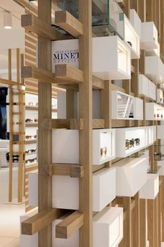 Find out all photos and details of OPTICIEN MINET , Belgium on Archilovers. Browse the complete collection of pictures and design drawings Wood Floating Shelves, Wooden Shelves, Glass Shelves, Inside Shop, Retail Fixtures, Retail Shelving, Build A Wall, Mawa Design, Shop Organization