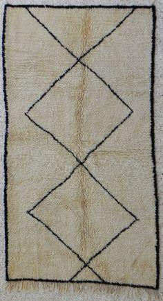 natural virgin wool carpet BENI OUARAIN berber rug from Morocco via Etsy