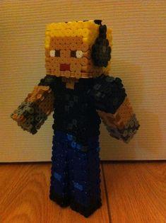 Custom 3D Minecraft skin perler beads by Birdseednerd on deviantART