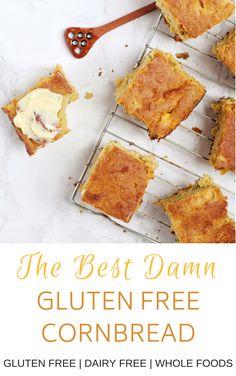 Gf Recipes, Dairy Free Recipes, Whole Food Recipes, Gluten Free Treats, Gluten Free Desserts, Gluten Free Cornbread, Corn Bread Gluten Free, Healthy Cornbread, Cornbread Recipes