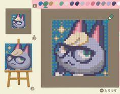 Animal Crossing Wild World, Animal Crossing Guide, Animal Crossing Characters, Animal Crossing Qr Codes Clothes, Pixel Art, Motifs Animal, Animal Games, Grid Design, Neon Genesis Evangelion