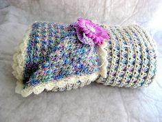 Handmade Crochenit girl's baby blanket with flower headband. $69.95