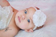baby headband flower all white ruffled elastic by cutiepiegoodies, $9.00