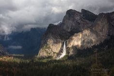 Yosemite Valley Canvas, Large Waterfall Home Wall Decor, Bridalveil Fall, Moody…