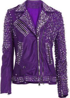 14f85f7c New Handmade Genuine elegant Purple leather jacket woman Silver heavy  studded - Coats & Jackets Purple