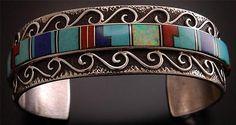 Navajo-Multi-Stone-Inlay-Swirl-Bracelet-by-M-Yazzie-TO81Y