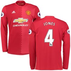 Phil Jones Manchester United adidas 2016/17 Replica Home Long Sleeve Jersey - Red - $124.99