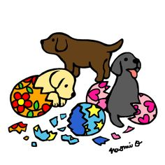 Adorable Labrador Puppies Cartoon created by Naomi Ochiai