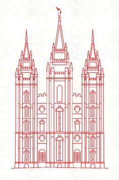 REDWORK EMBROIDERY  LDS Temple Salt Lake by TheEmbroideryDepot, $8.29
