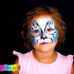 Snow leopard face painting by Glitter-Arty Face Painting, Bedford, Bedfordshire Leopard Face Paint, Girl Face Painting, Glitter Face, Henna Artist, Snow Leopard, Face Art, Halloween Face Makeup, Girly, Holidays