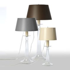 As Shown: Glass Trumpet Table Lamp Size: 13 diameter x 26.5 H inches, 17 diameter x 32.5 H inches and 19 diameter x 41 H inches Material: Glass Shade: Painted Parchment Shade Color: Grey, Chocolate, Ivory  Description: This simply shaped glass table lamp comes in three sizes, and your choice of three hand-painted parchment shades. Cluster multiples for a call to conversation that proclaims your style, in style.