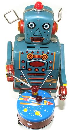 Beats that silly cymbal-banging monkey any day....... (i have this robot, but the mechanism is over-wound unfortunately)