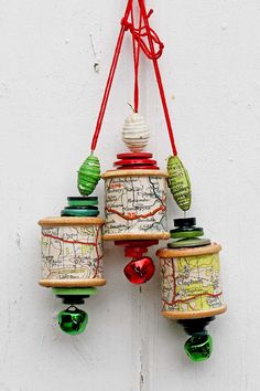 Upcycle an old cotton reel and some buttons into a special map Christmas ornament. These would make a lovely gift especially if use a map of a special place. Woodland Christmas, Simple Christmas, Christmas Holidays, Christmas Ideas, Holiday Ideas, Coastal Christmas, Homemade Christmas, Christmas Tree, Wooden Spool Crafts