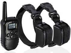 Pet Dog Training Collar Rechargeable Electric LCD 100LV Shock  (Two Collars)