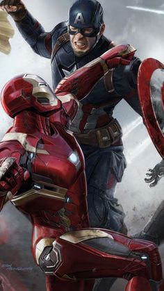 "Marvel Captain America - Civil War Poster ""Iron Man & Captain America"" x + a surprise poster! Captain America Civil War, Iron Man Captain America, Marvel Civil War, Spiderman Civil War, Marvel Avengers, Batman Vs Superman, Civil War Movies, Captain America Wallpaper, Marvel Heroes"