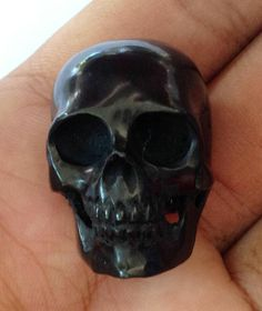 """Death Skull 1.3 """" Carved from Natural Black Buffalo Horn UA087 #JewelryWithSoul #Carving"""