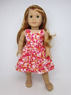 American girl doll clothes - Pretty flowered sundress by JazzyDollDuds.