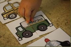transport matching - free printable for toddlers preschoolers TRUCK STUCK