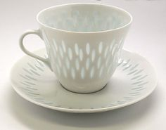 A beautiful small collection of the Rice Grains pattern by Arabia of Finland, cup and saucer.