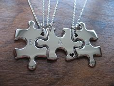 Three Puzzle Heart Pieces Best Friends by GorjessJewellery on Etsy