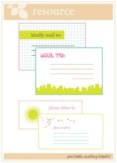 labels for mailing Printable Labels, Printable Planner, Free Printables, Address Label Template, Label Templates, Project Life Scrapbook, Mailing Labels, Happy Mail, Card Tags