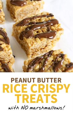 Peanut Butter Rice Crispy Treats (with NO marshmallows!), Desserts, These Peanut Butter Rice Crispy Treats require just 4 ingredients and taste BETTER than the original recipe! I love that these healthy rice crispy tre. Healthy Sweets, Healthy Dessert Recipes, Delicious Desserts, Yummy Food, Healthy Desserts Peanut Butter, Desserts With Honey, Desserts With Dates, Heart Healthy Desserts, Honey Dessert