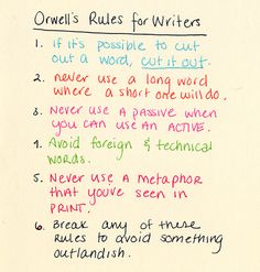 George Orwell's Rules for Writers - The Plain Language Programme