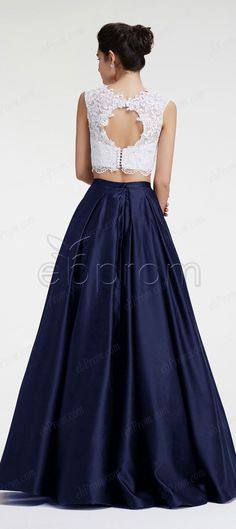 Navy blue two piece prom dresses ball gown prom dress long quinceanera dresses