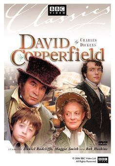"""DVD cover art for the BBC adaptation of Charles Dickens's """"David Copperfield"""", 1999. Starring Maggie Smith, Bob Hoskins, and Daniel Radcliffe"""