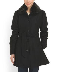 Wool Blend Faux Fur Trim Coat 80.00 washable