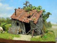 old hut (ruin) Train Miniature, Miniature Houses, Wargaming Terrain, Fantasy House, Military Diorama, Model Train Layouts, Miniture Things, Fairy Houses, Small World