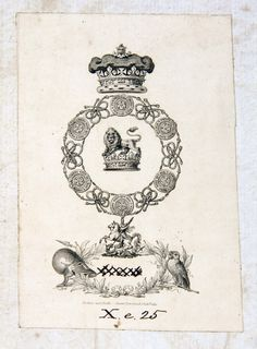 Bookplate of HRH Prince Augustus Frederick,Duke of Sussex.
