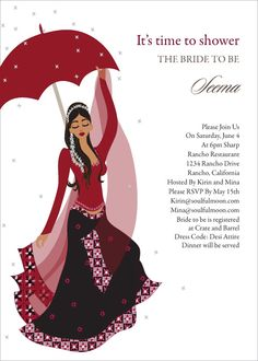 Flower Shower Indian Bridal Shower Invitations by #Soulfulmoon