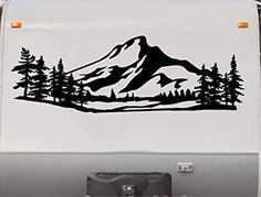 Valley Trees Mountains Camper Decal Camping Motor Home Trailer RV Sticker Graphic Scene Mural Custom Campers, Old Campers, Rv Decals, Wood Burning Art, Cornhole Set, Tree Silhouette, Landscape Silhouette, Pyrography, Motorhome