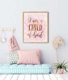 I am a Child of God, Galatians 3:26, Bible Verse Printable by LilaPrints. Nursery Decor, Scripture Prints, Christian Gifts, Kids Room, Nursery Bible Quote #wallartquotes #bedroomdecor #art #nurserydecor