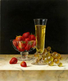 Roy Hodrien. Champagne and Strawberries in a Glass Bowl