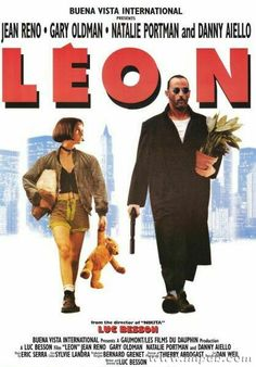"""Leon: The Professional"" starring Jean Reno, Gary Oldman, Natalie Portman, Danny Aiello, Michael Badalucco; written and directed by Luc Besson. The Professional Movie, Professional Poster, Jean Reno, Gary Oldman, Great Films, Good Movies, Film Movie, Mathilda Lando, Film Mythique"