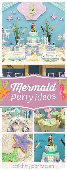 Don't miss this wonderful Little Mermaid birthday party! The cupcakes topped with mermaid tails are gorgeous!! See more party ideas andshare yours at CatchMyParty.com
