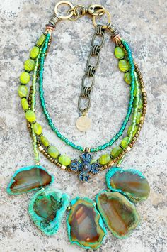 teal and chartreuse